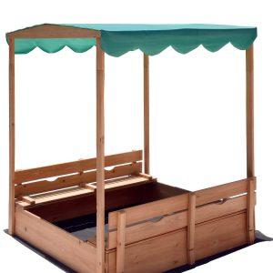 Naomi Home Kids Canopy Cedar Sandbox with Benches