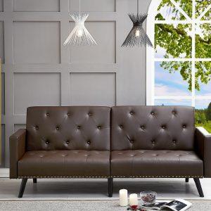 Naomi Home Convertible Tufted Futon Sofa