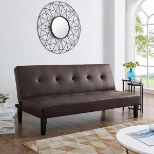 Naomi Home Button Tufted Futon Sofa Bed