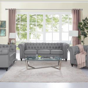Naomi Home 3 Piece Emery Chesterfield Sofa Set