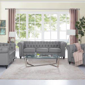 Naomi Home 3 Piece Emery Chesterfield Sofa Set