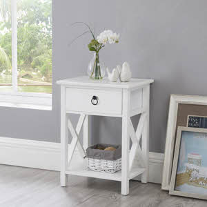 Naomi Home Eily Wooden Table with Storage Shelf, Drawer
