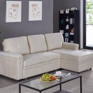 Naomi Home Laura Reversible Sleeper Sectional Sofa Storage Chaise