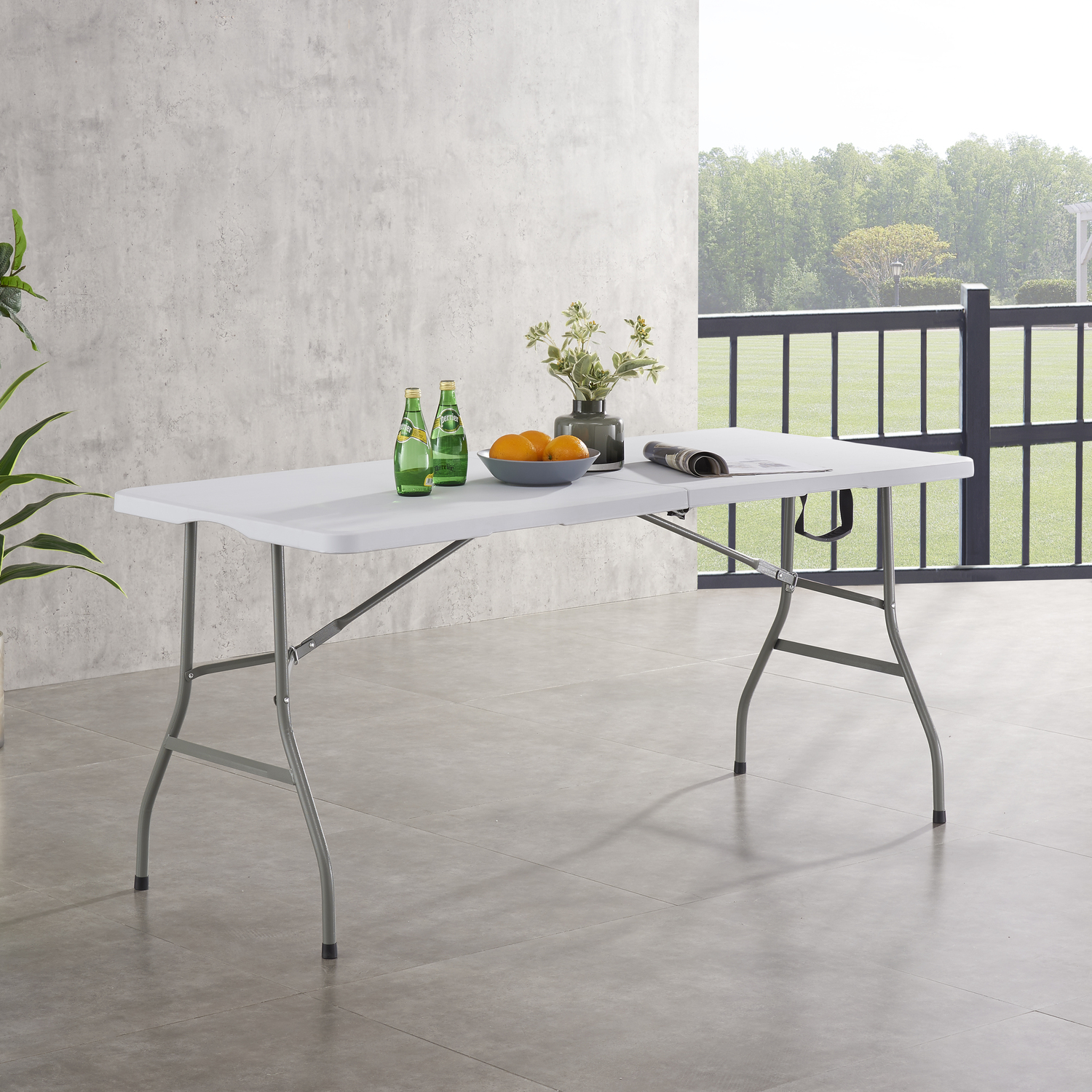 Naomi Home Multipurpose Rectangle Resin Center Folding Table