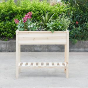 Naomi Home Dahlia Raised Garden Planter Bed with Shelf