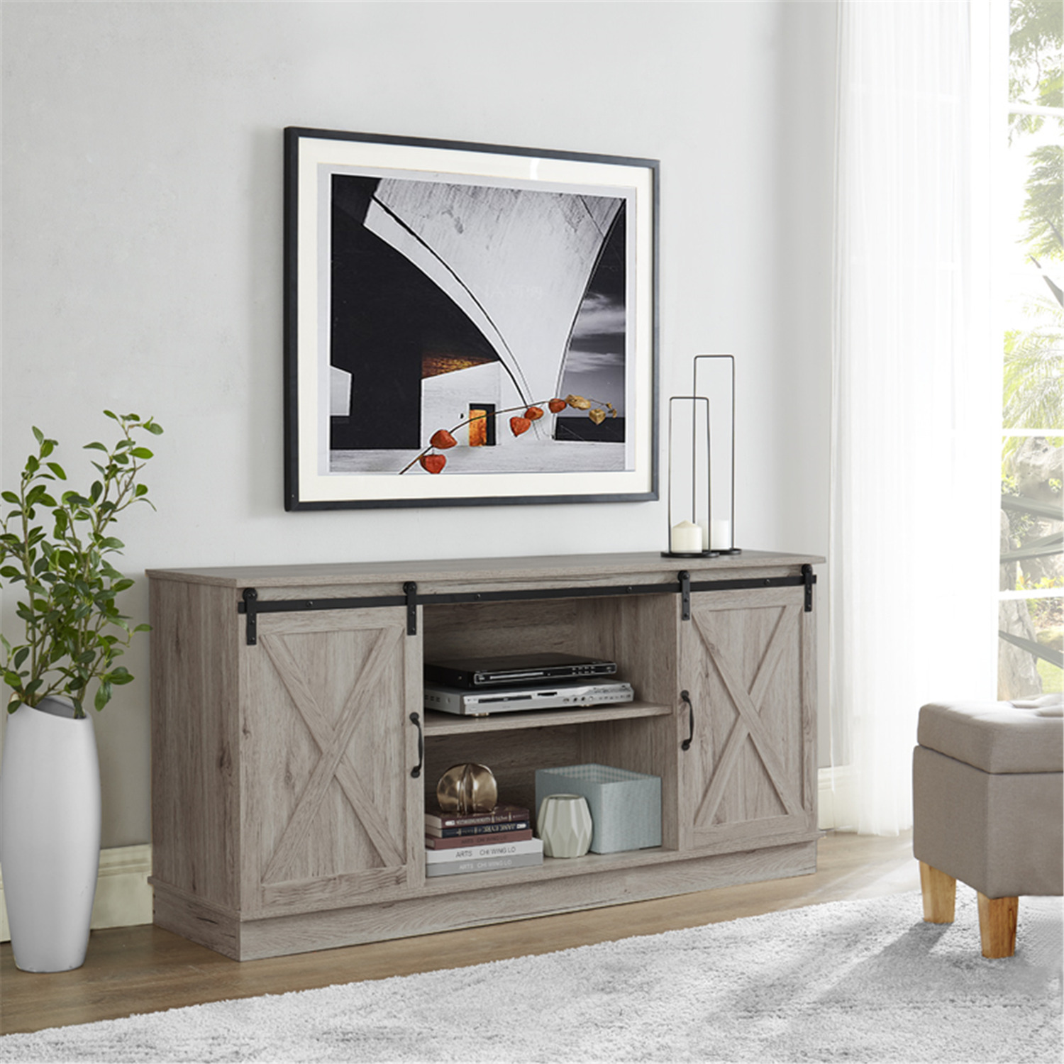 Naomi Home Rylee Farmhouse Style 60″ TV Console Cabinet With Sliding Barn Doors