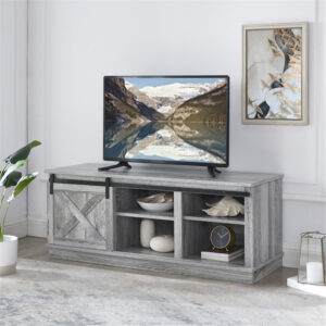 Naomi Home Shelby Sliding Barn Door TV Stand for 50″ TV with Storage Shelf